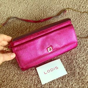 Fuchsia Lodis Leather Wristlet & Crossbody